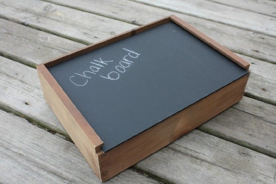 Repurposed Wine Box Turned Chalk Board