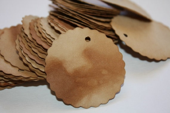 Price Tag set of 150 Scallopd Circle 1 3/4 Tea Stained Product Tags