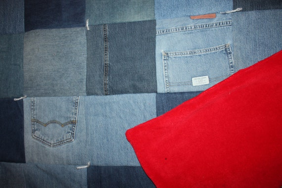 Jean Quilt Denim quilt Couch Throw READY to SHIP