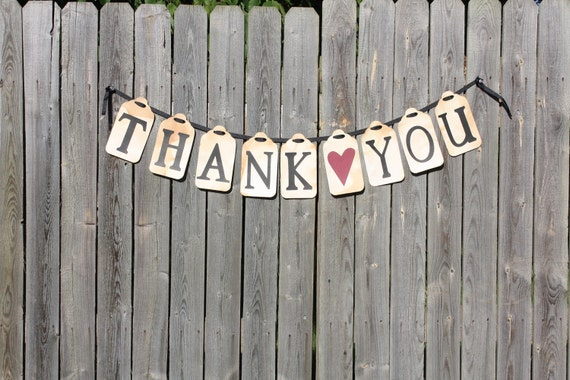 Wedding Banner Tea Stained Thank You