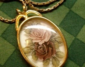 Vintage Painted Roses Under Glass Pendant