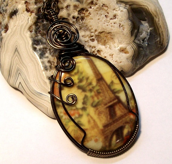 Eiffel Tower Cameo Wire Wrap Pendant