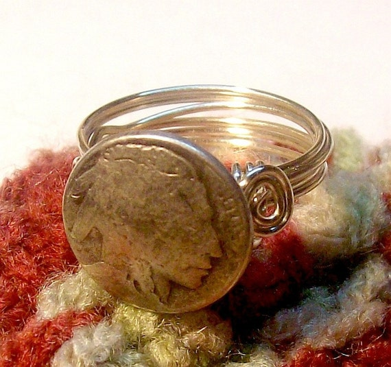Indian Head Nickel Button Ring