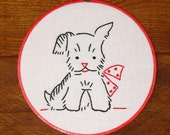Vintage Look Puppy with a Bow Embroidered Wall Hanging