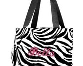 Personalized Zebra Tote Bag Monogrammed Wedding Dance