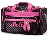 Personalized Duffle Bag Black Pink Polka Dots  Dance Bag Luggage Gym Travel Overnight