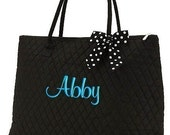 Personalized Tote Bag Black White Polka Dots Dance Cheer Gym XLarge