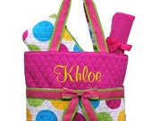 Diaper Bag Personalized Polka Dots Hot Pink Yellow Green Quilted Monogrammed
