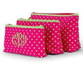 Personalized Cosmetic Pouch Case Bag Polka Dots Hot Pink Lime Green Monogrammed Set 3 pieces Travel Case Pouch