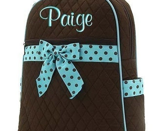 Girls Personalized Backpack Brown Blue Polka Dots Quilted Monogrammed Bookbag
