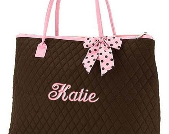 Personalized Tote Bag Brown Pink Polka Dots Dance Cheer Gym XLarge