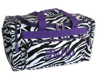 Personalized Duffle Bag Zebra Purple Dance Ballet Gym Travel Luggage Monogrammed