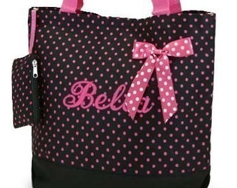 Personalized Tote Bag Black Hot Pink Polka Dots  Monogrammed Dance Cheer