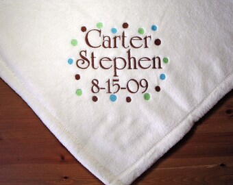 Personalized Tahoe Blanket BABY Shower Gift Dots design