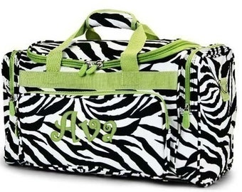 Personalized Duffle Bag Zebra Lime Green Trim  DANCE GYM Cheer  Luggage