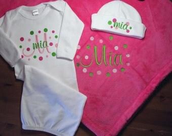 Personalized Baby Blanket Newborn Set Polka Dots Gown Cap Monogrammed