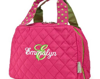 Personalized Lunch Bag Pink Lime Green Quilted Polka Dots Insulated Monogrammed