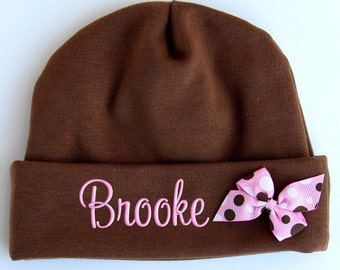 Personalized Beanie Hat Newborn Baby Girl Embroidered Monogrammed Name Bow Brown