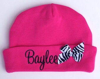 Personalized Beanie Hat Newborn Baby Girl Embroidered Monogrammed Name Bow
