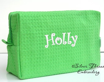 Personalized Cosmetic Bag Lime Green Waffle Case Monogrammed Bridesmaid Gift