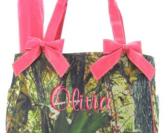 Monogrammed Diaper Bag Camouflage Hot Pink, Mossy Oak, Camo, Army Print, Personalized