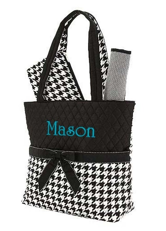 diaper bag personalized quilted houndstooth black by parsik93. Black Bedroom Furniture Sets. Home Design Ideas
