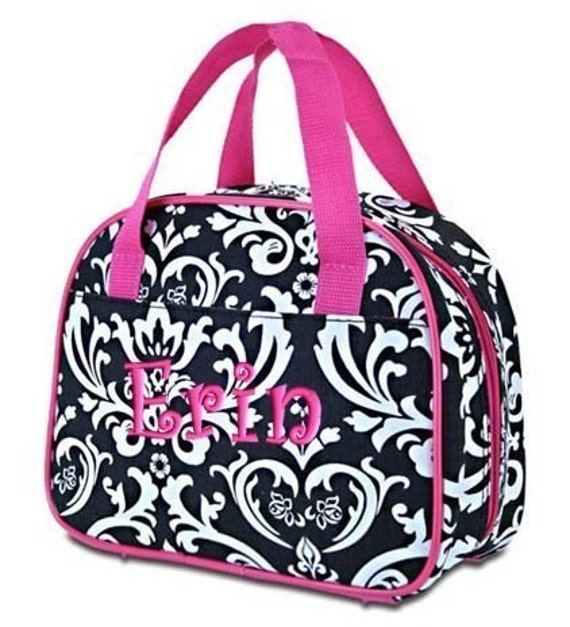 Personalized Lunch Bag Black Damask Hot Pink Trim Insulated