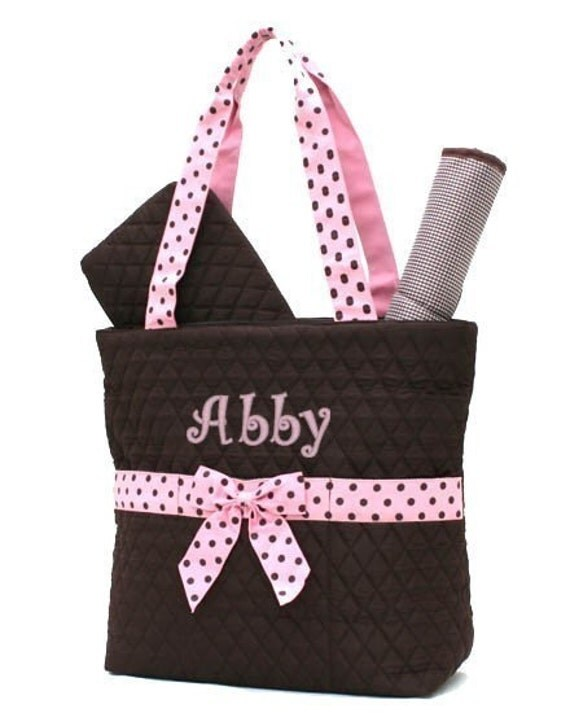 diaper bag personalized brown pink polka dots quilted by parsik93. Black Bedroom Furniture Sets. Home Design Ideas