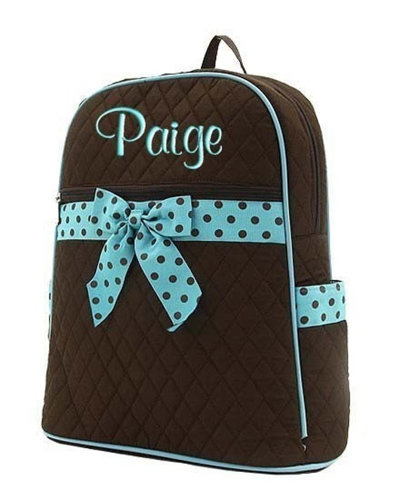 Toddler Personalized Backpack Brown Blue Polka Dots Quilted Preschool