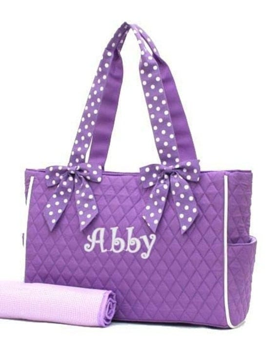 Personalized Diaper Bag Lavender White Polka Dots Quilted Monogrammed