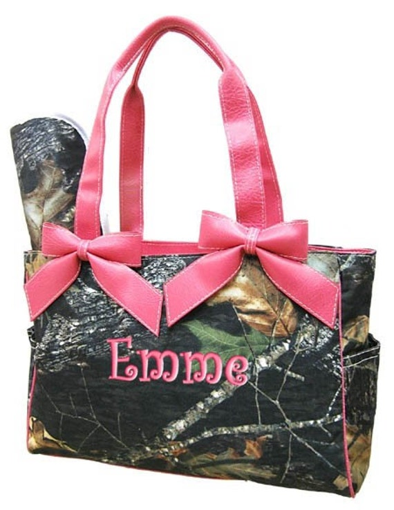 Personalized Diaper Bag Pink Camouflage Mossy Oak Camo Army