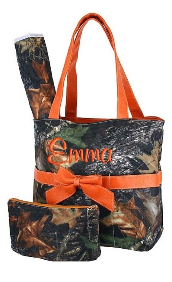 diaper bag personalized mossy oak camouflage camo orange set 3