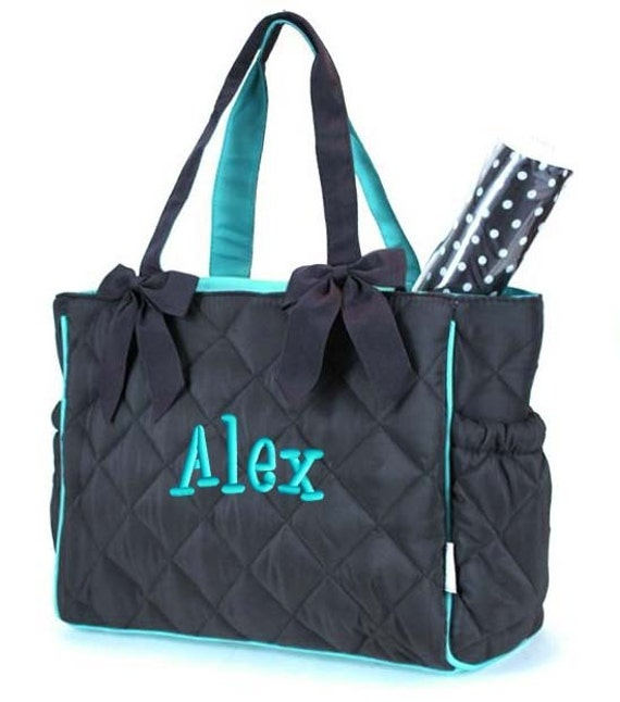 personalized diaper bag brown teal blue quilted 2pc for boy