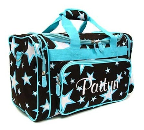 Personalized Duffle Bag Stars Brown Blue Dance Gym Cheer Luggage