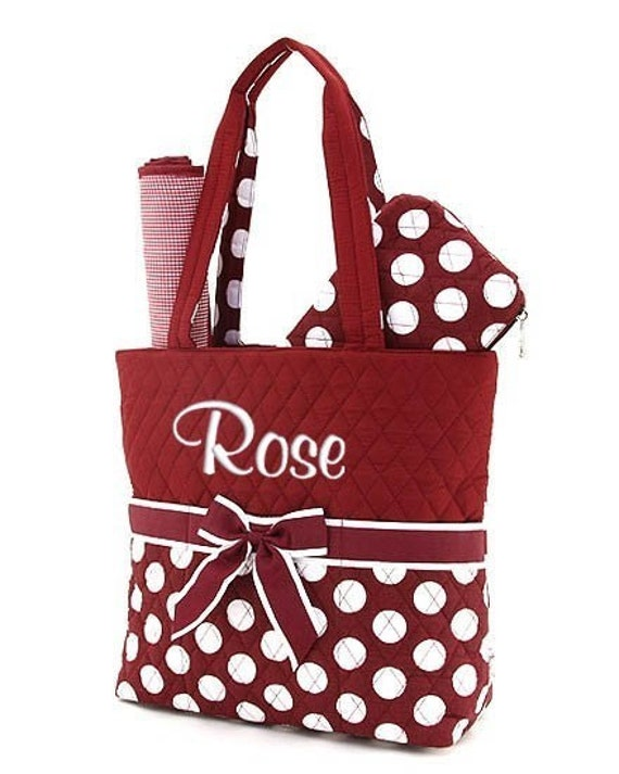 Personalized Diaper Bag Red White Polka Dots Quilted Monogrammed Baby Tote
