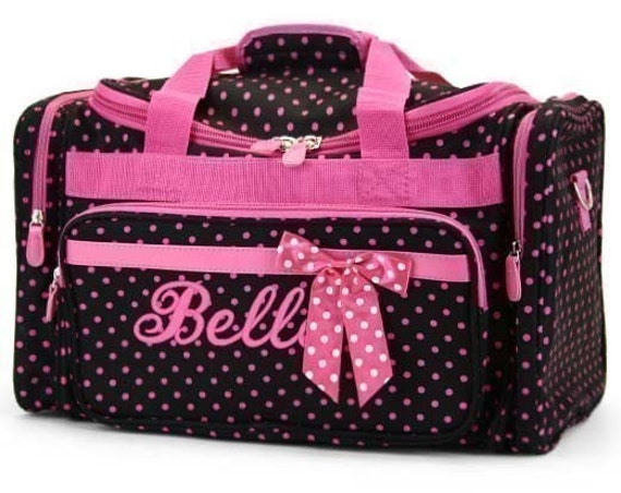 Personalized Duffle Bag Black Pink Polka Dots Dance