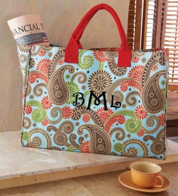 Personalized Tote Bag Blue Paisley Monogrammed Beach Dance Cheer