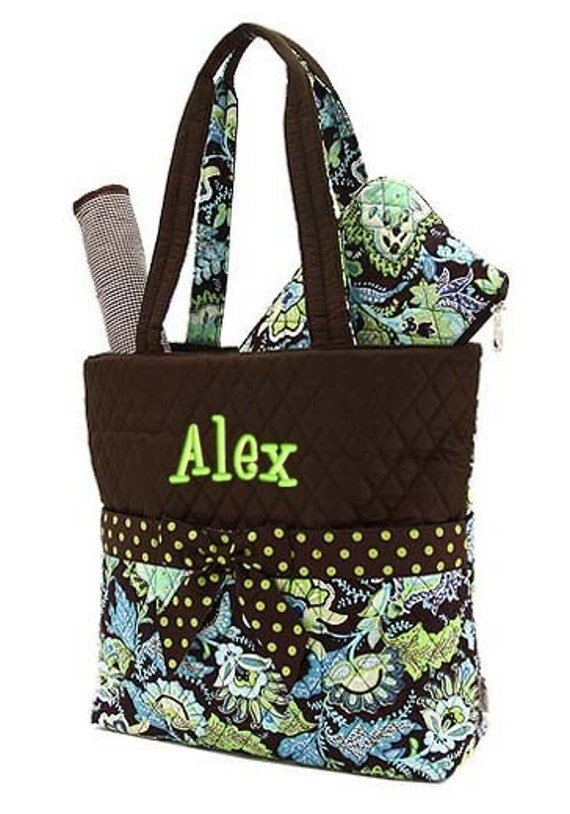 Diaper Bag Personalized Brown Lime Floral Monogrammed Quilted 3 pc