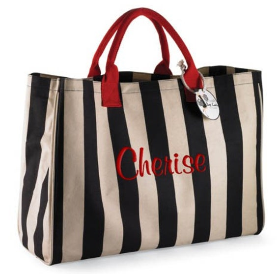 Personalized Tote Bag Black Sand Stripe Monogrammed Beach Dance Cheer
