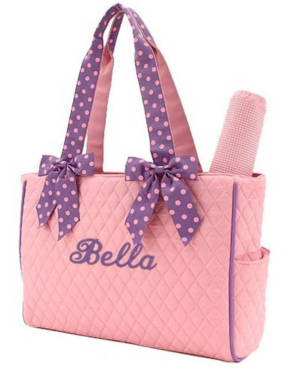 Diaper Bag Personalized Pink Lavender Polka Dots Quilted Monogrammed