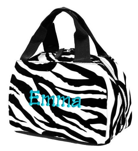 Personalized Lunch Bag Zebra Black Insulated Monogrammed