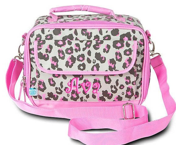 Personalized Lunch Bag Pink Leopard Monogrammed Insulated Tote