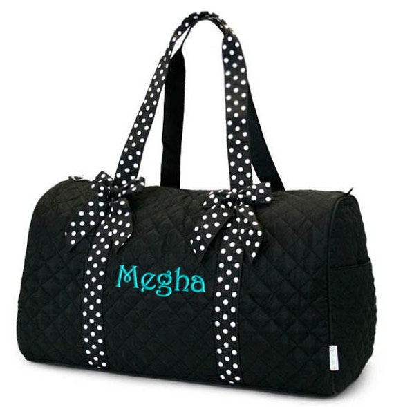 Personalized Duffle Bag Black White Polka Dots Dance Gym Cheerleader