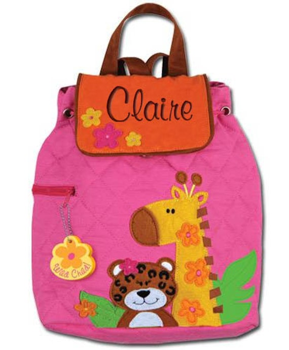 Children Personalized Backpack Zoo Girl Stephen Joseph Quilted Preschool Toddler