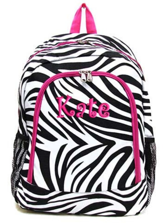 personalized backpack zebra pink bookbag monogrammed