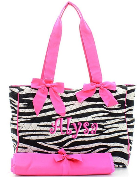 Personalized Diaper Bag Zebra Hot Pink Quilted Monogrammed