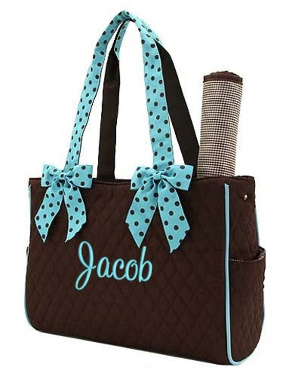 Diaper Bag Personalized Brown Blue Polka Dots Quilted Monogrammed