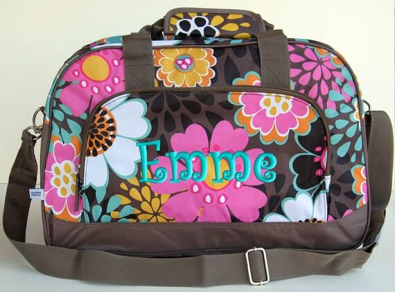 Personalized Duffle Bag Mocha Flower Dance Gym Ballet Cheer Luggage
