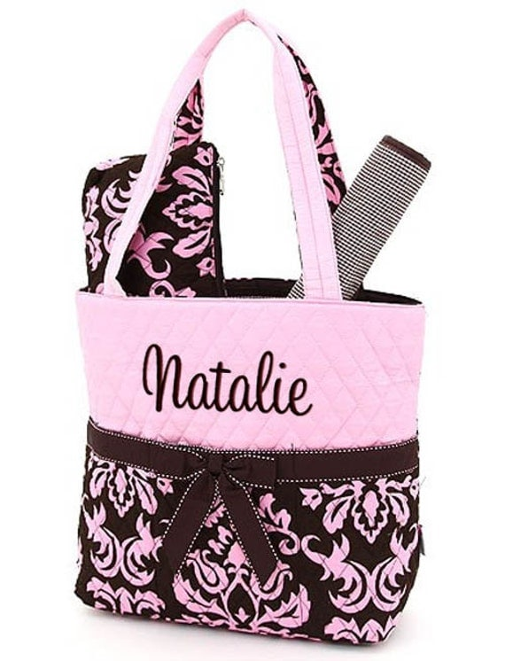 Diaper Bag Personalized Damask Pink Brown Monogrammed 3 pc Quilted