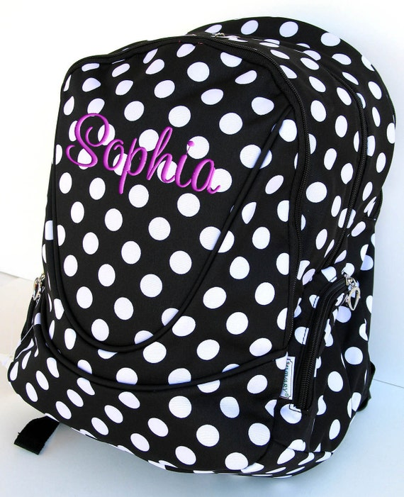 Girls Personalized Backpack Black White Polka Dots Bookbag